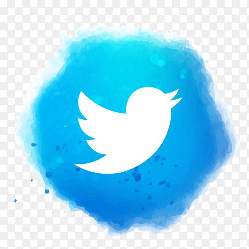 Watercolor Twitter logo transparent PNG