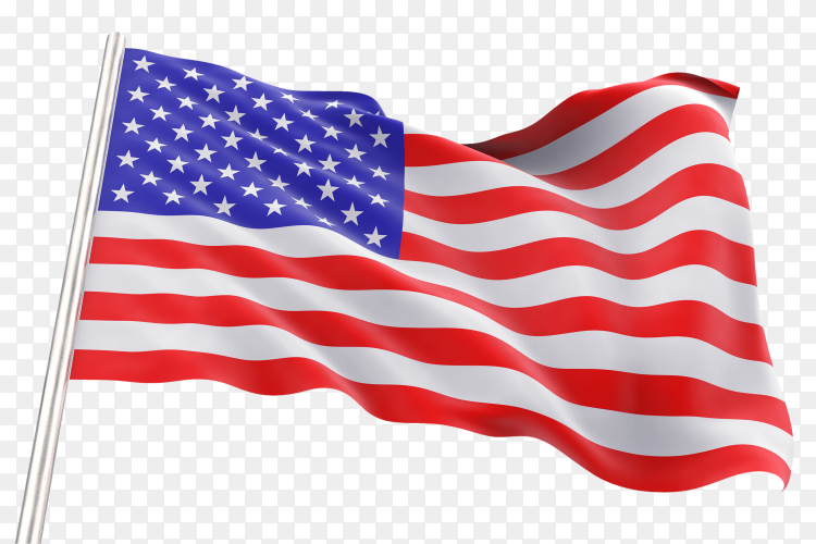Waving american flag transparent PNG