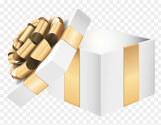 White gift box illustration clipart PNG