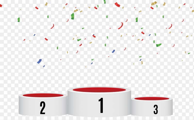 Winner podium with colorful confetti on transparent background PNG