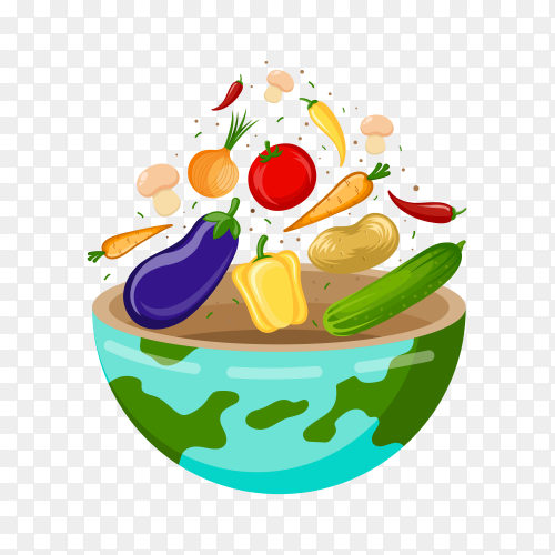 World food day – Vegetables and fruits transparent PNG