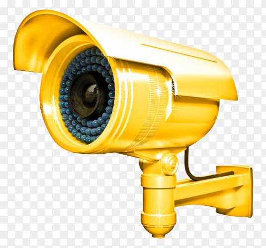 Yellow CCTV security camera transparent PNG