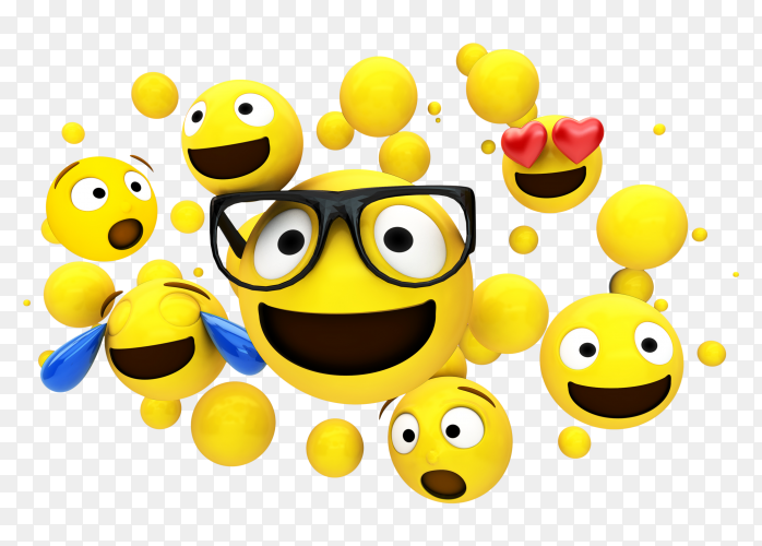 Yellow emojis characters floating on transparent background PNG