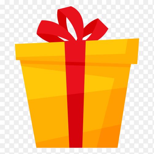 Yellow gift box – vector PNG