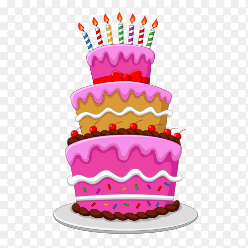 Colorful birthday cake with candles transparent png