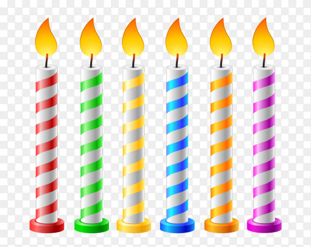 Colorful birthday candles with transparent background PNG