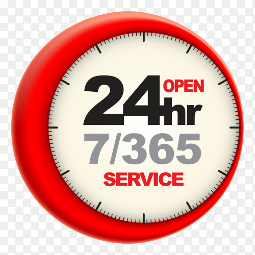 24hr service with clock scale logo 3d style vector PNG