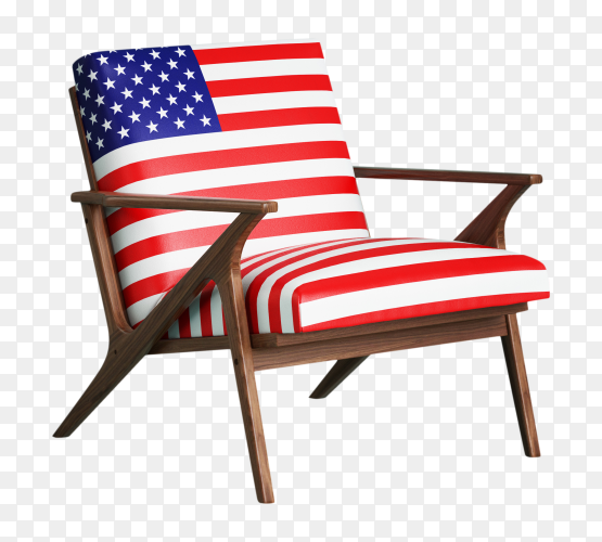 3D USA Flag chair vector PNG