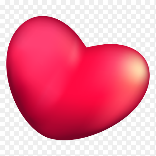 3D red Heart leaned premium clipart PNG