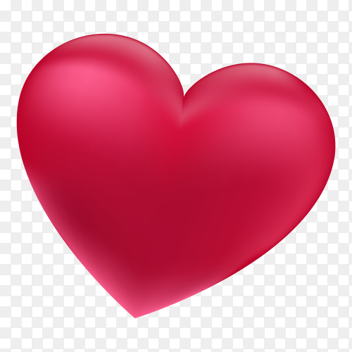 3D red Heart standing Vector PNG
