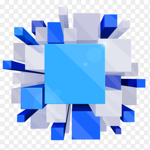 A blue white cubes shaped geometric form clipart PNG
