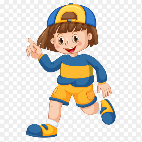 A boy running raise one finger Clipart PNG
