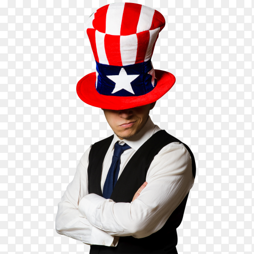 A man wearing usa hat ImagesPNG