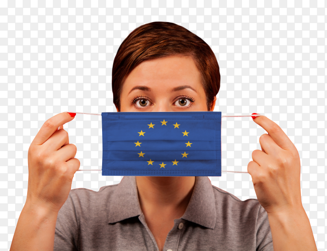 A woman wearing euoropian medical protective mask on transparent background PNG