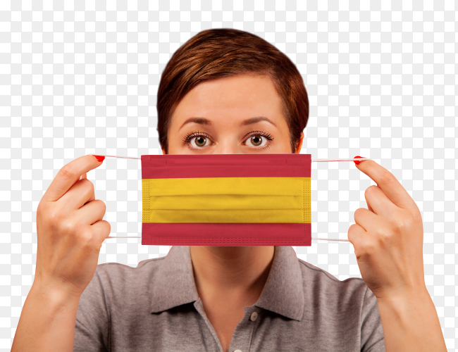 A woman wearing spanish medical protective mask on transparent background PNG