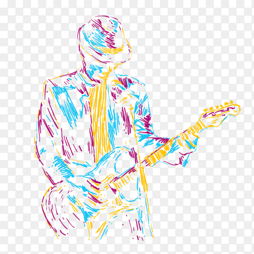 Abstract guitar player vector illustration music poster on transparent background PNG