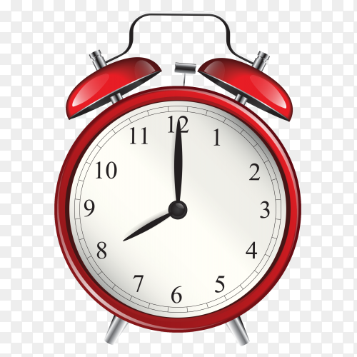 Alarm clock with red color Clipart PNG