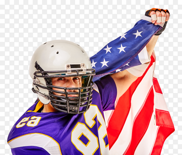 American football player celebrating with American flag on transparent PNG