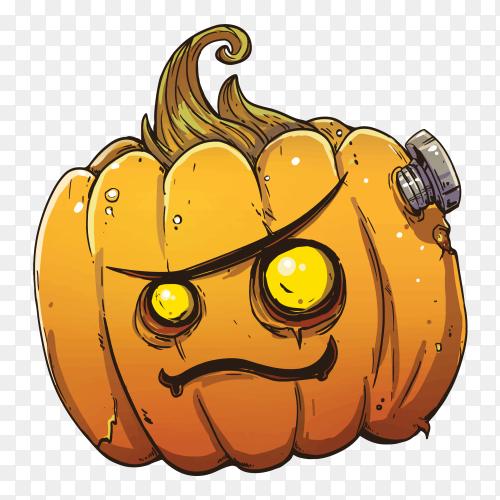 Angry pumpkin Halloween face design vector PNG
