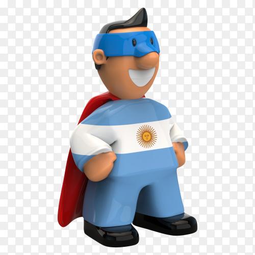 Argentina flag shaped on super hero on transparent background PNG