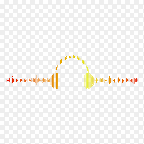 Audio visual headphone icon with pixel wave graphic style on transparent background PNG