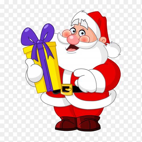 Baba noel surprising gift vector PNG