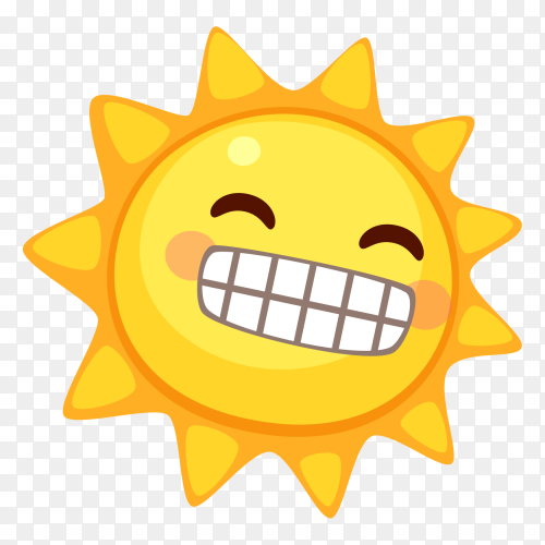 Beaming sun with Smiling Eyes clip art PNG