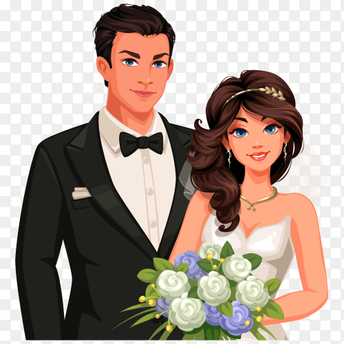Beautiful Wedding couple om transparent background PNG