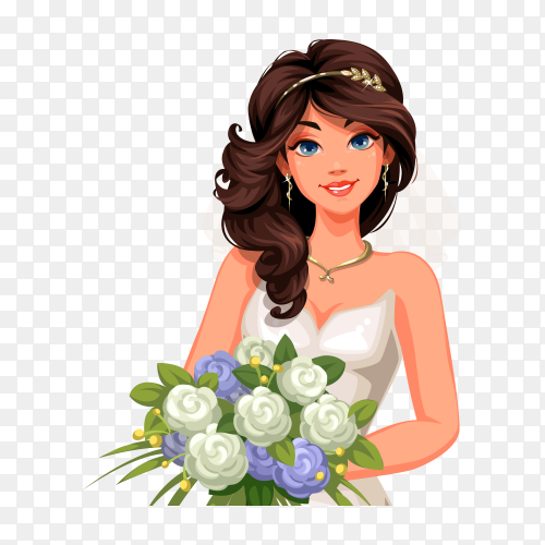 Beautiful bride holding bouquet of flowers vector PNG