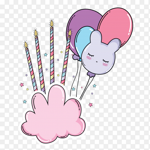 Birthday ballon with candels on cloud stock on transparent PNG