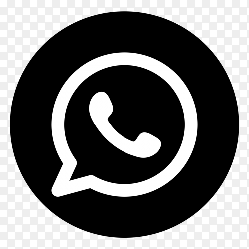 Black and white Whatsapp logo vector PNG