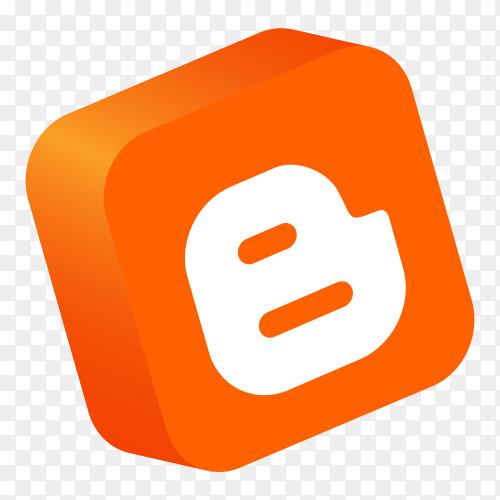 Blogger logo 3d button vector PNG