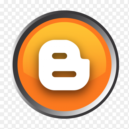 Blogger logo button with transparent PNG