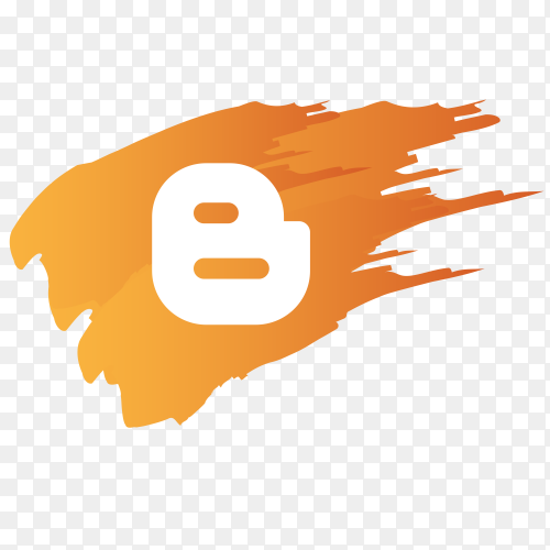 Blogger logo with brush on transparent PNG