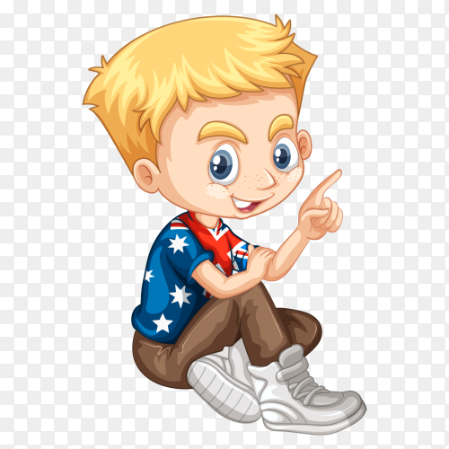 Blond hair boy make a sign by his finger vector PNG