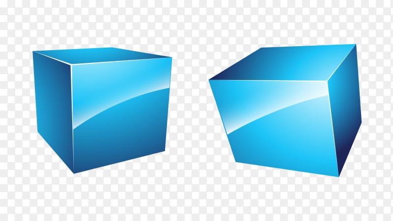 Blue 3D cubes shapes Clipart PNG