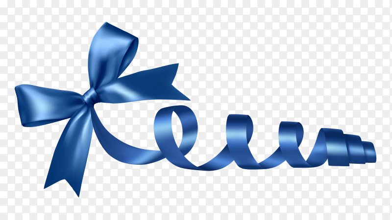Blue Ribbon and bow on transparent PNG