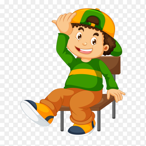 Boy sitting on chair vector PNG