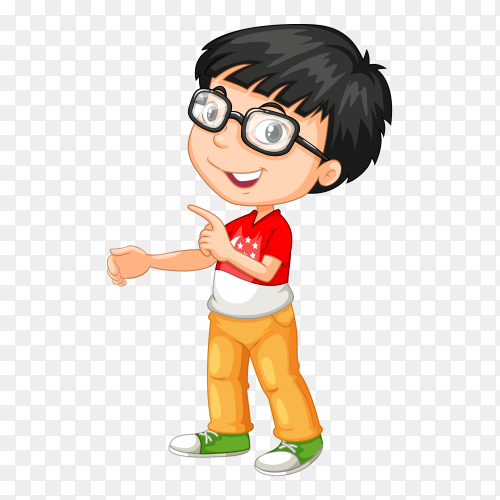 Boy with sunglasses on transparent PNG