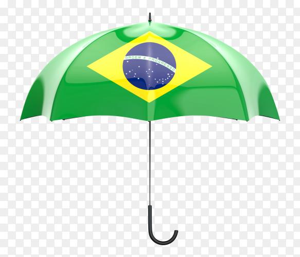Brazil flag shaped on an umbrella on transparent PNG