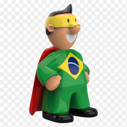 Brazil flag shaped on super hero on transparent background PNG