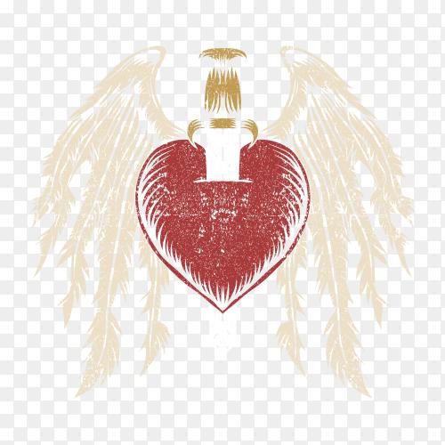 Broken heart wing vector PNG