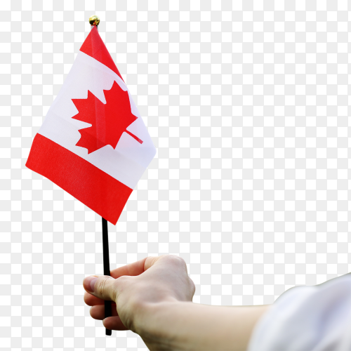 Canadian national Flag waving with woman hand Images PNG