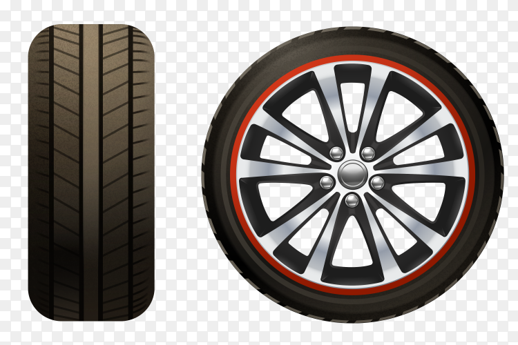 Car Wheel Realistic on transparent PNG