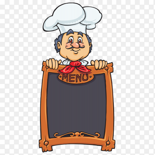 Chef carrying an empty menu Vector PNG