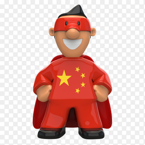 China flag shaped on super hero on transparent background PNG