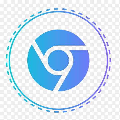 Google Chrome logo in points circle vector PNG