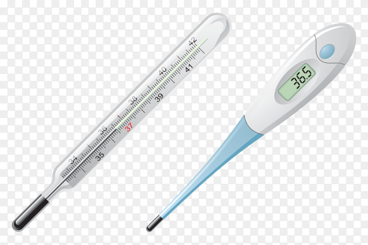 Classic and digital Thermometer clipart PNG