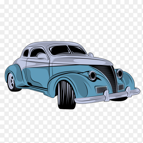 Classic racing car vector illustration with transparent PNG