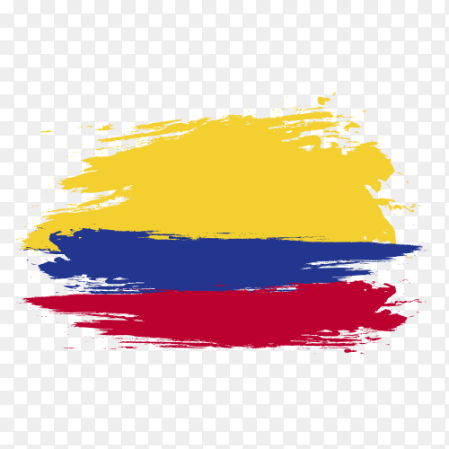 Colombia flag brush drawing on transparent background PNG
